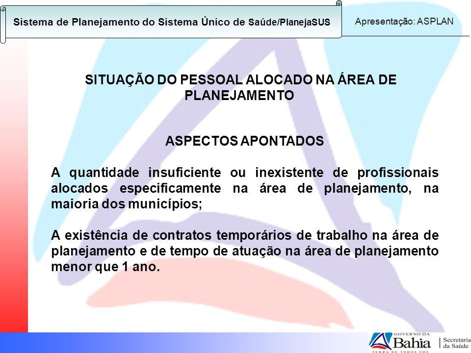 SITUAÇÃO DO PESSOAL ALOCADO NA ÁREA DE PLANEJAMENTO ASPECTOS APONTADOS