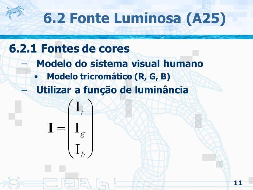 6.2 Fonte Luminosa (A25) 6.2.1 Fontes de cores