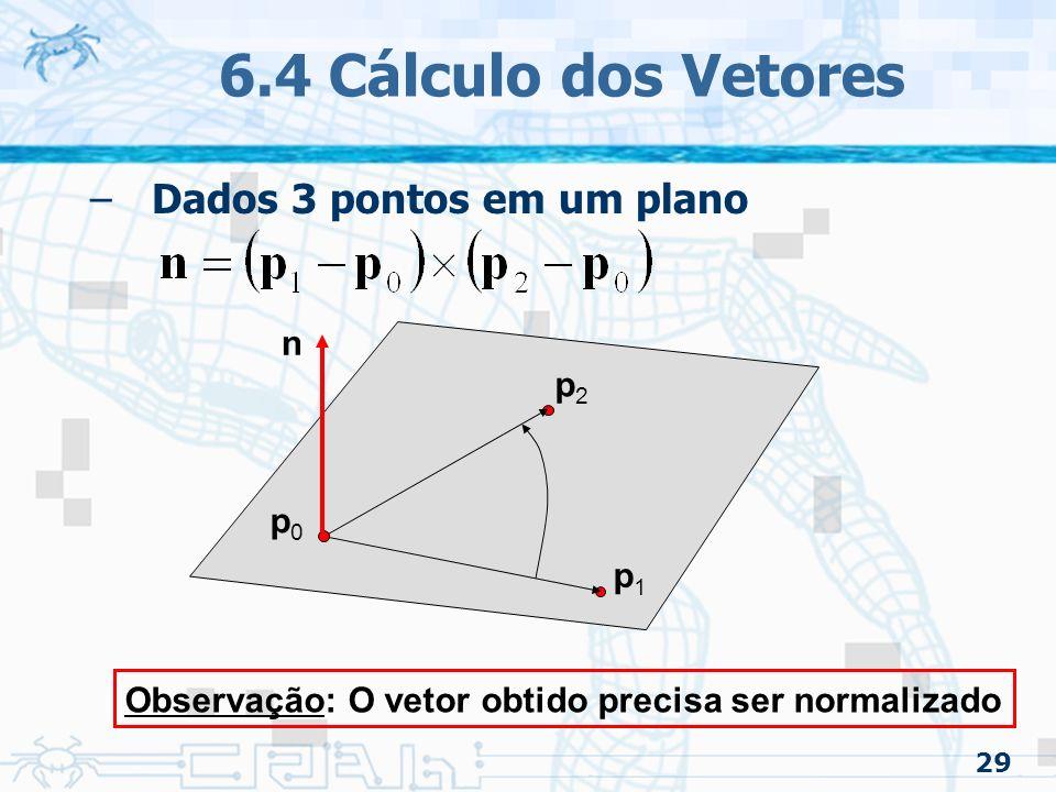 6.4 Cálculo dos Vetores Dados 3 pontos em um plano n p2 p0 p1