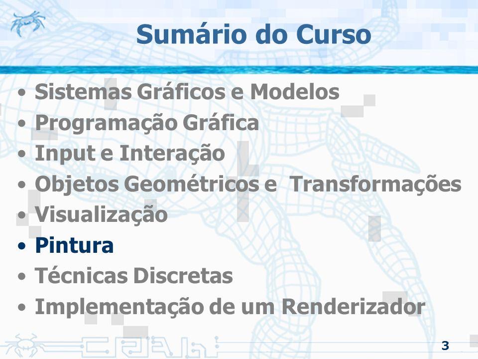 Sumário do Curso Sistemas Gráficos e Modelos Programação Gráfica