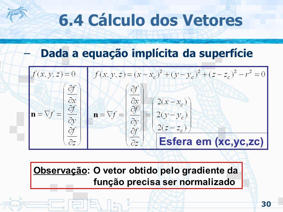 6.4 Cálculo dos Vetores Dada a equação implícita da superfície
