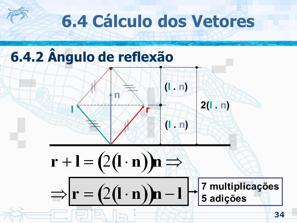 6.4 Cálculo dos Vetores 6.4.2 Ângulo de reflexão l r n (l . n)