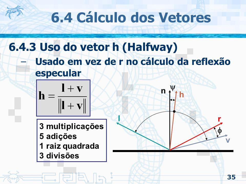 6.4 Cálculo dos Vetores 6.4.3 Uso do vetor h (Halfway)