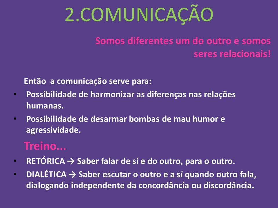 2.COMUNICAÇÃO Somos diferentes um do outro e somos seres relacionais!