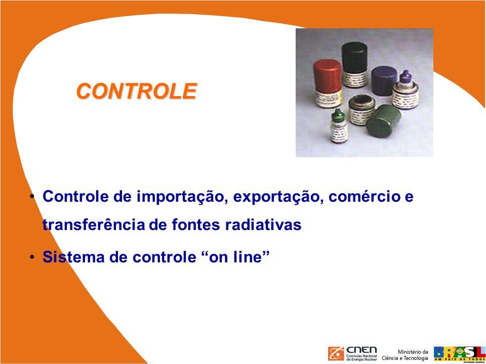 CONTROLE Controle de importação, exportação, comércio e transferência de fontes radiativas.