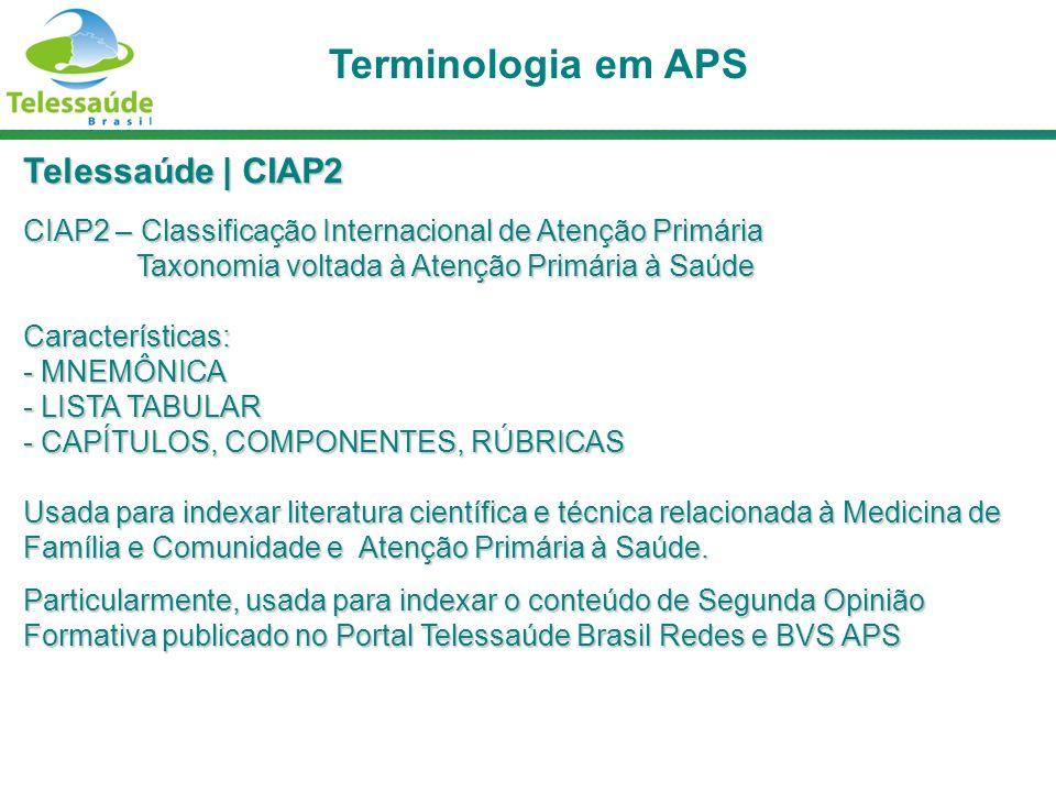Terminologia em APS Telessaúde | CIAP2