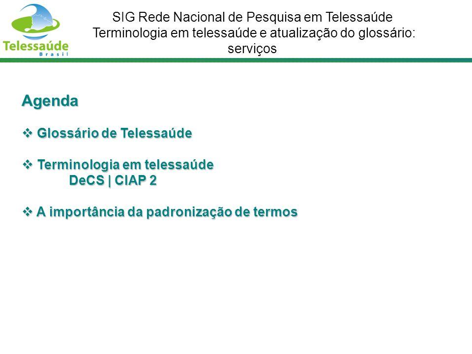 SIG Rede Nacional de Pesquisa em Telessaúde Terminologia em telessaúde e atualização do glossário: serviços