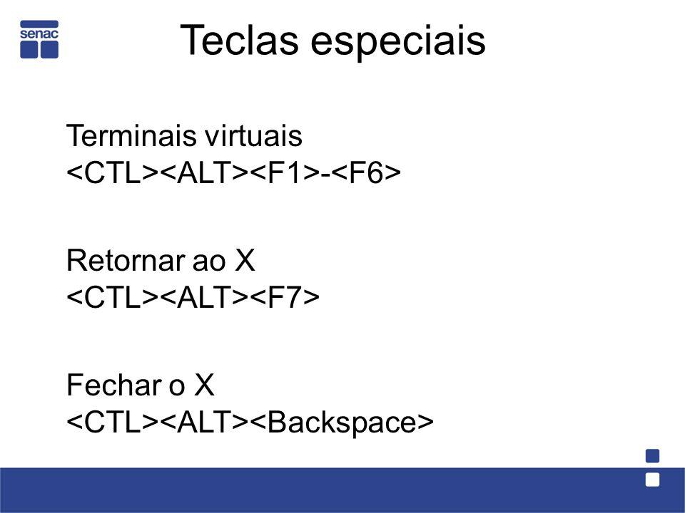 Teclas especiais Terminais virtuais <CTL><ALT><F1>-<F6> Retornar ao X <CTL><ALT><F7> Fechar o X <CTL><ALT><Backspace>
