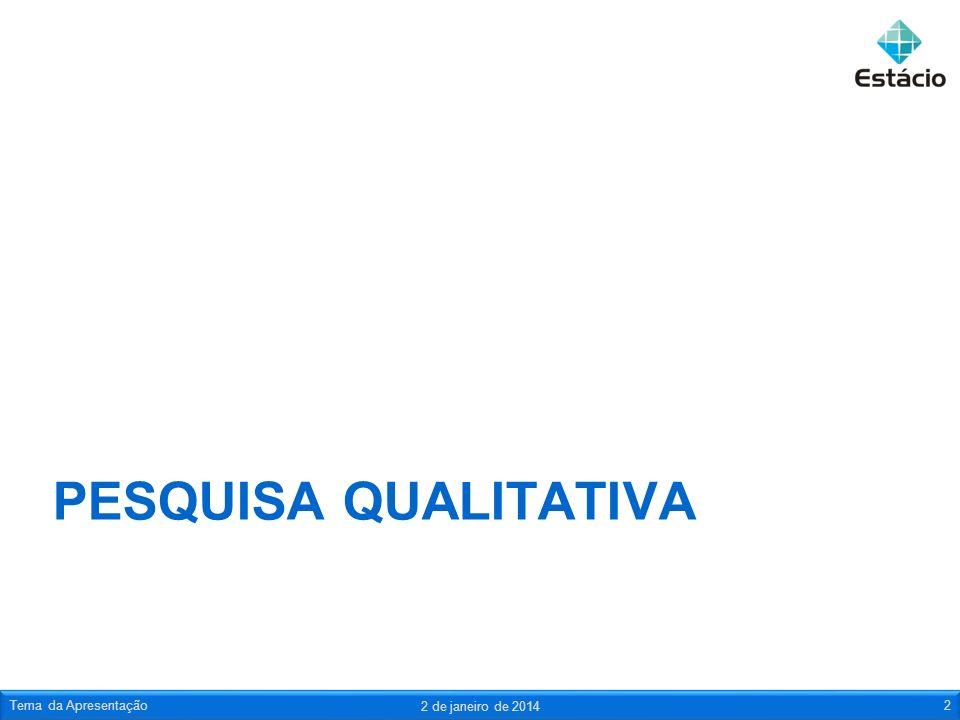 Pesquisa qualitativa Tema da Apresentação 24 de março de 2017