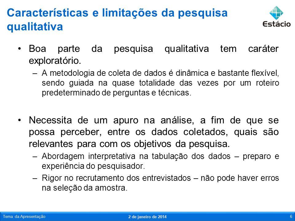 Características e limitações da pesquisa qualitativa