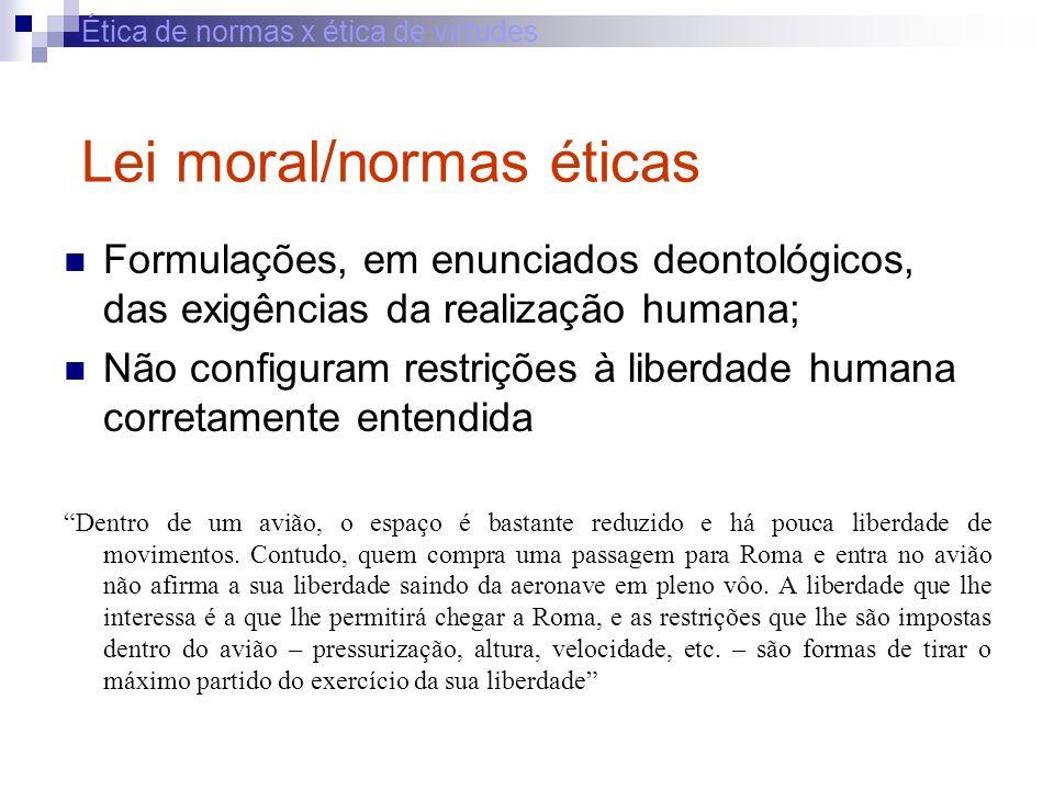 Ética de normas x ética de virtudes Lei moral/normas éticas