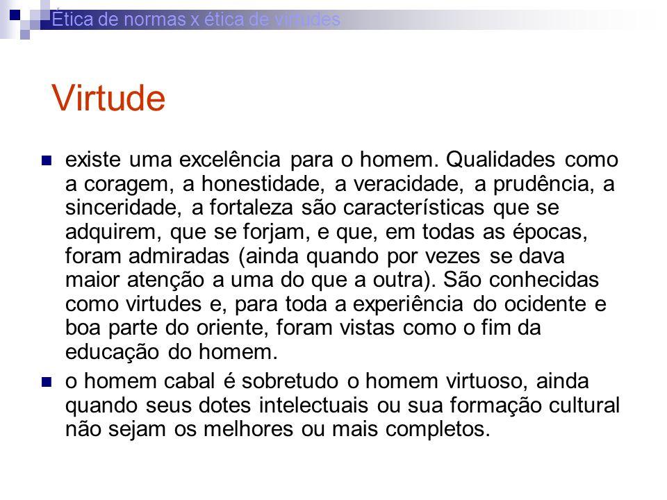 Ética de normas x ética de virtudes Virtude