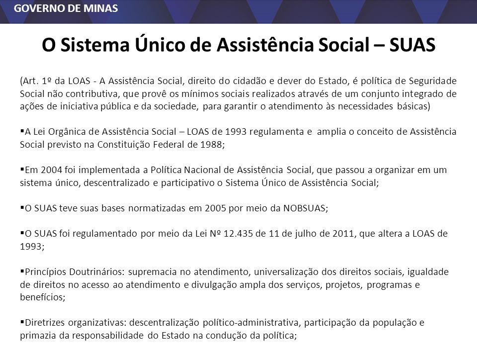 O Sistema Único de Assistência Social – SUAS