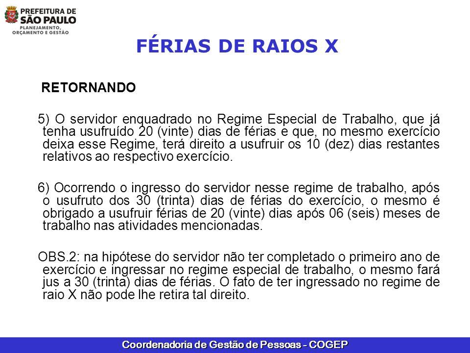 FÉRIAS DE RAIOS X RETORNANDO.