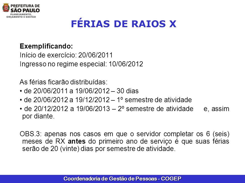 FÉRIAS DE RAIOS X Exemplificando: Início de exercício: 20/06/2011
