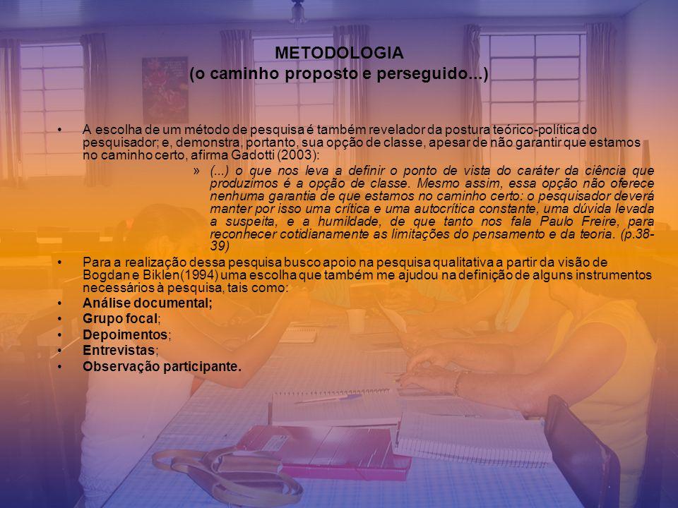 METODOLOGIA (o caminho proposto e perseguido...)