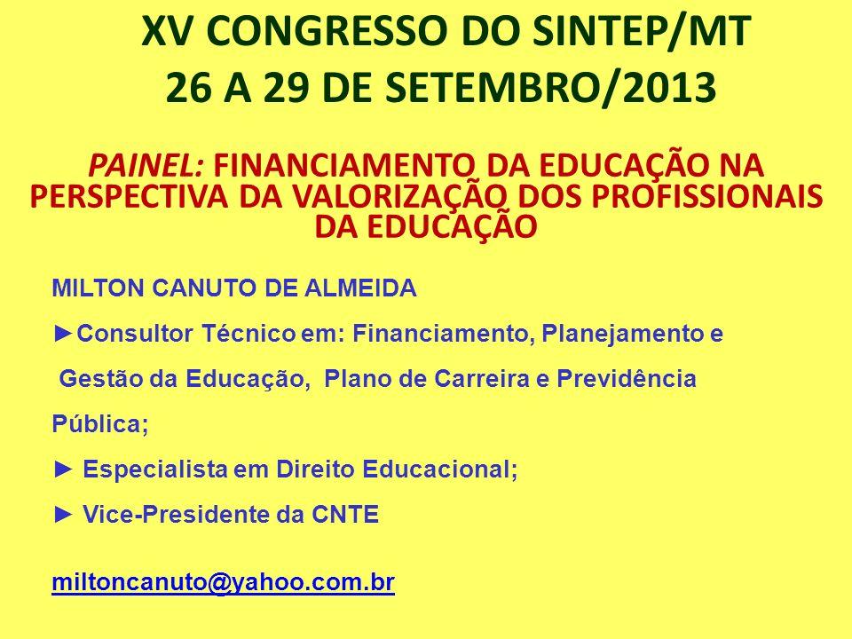 XV CONGRESSO DO SINTEP/MT 26 A 29 DE SETEMBRO/2013