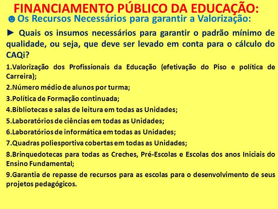 FINANCIAMENTO PÚBLICO DA EDUCAÇÃO: