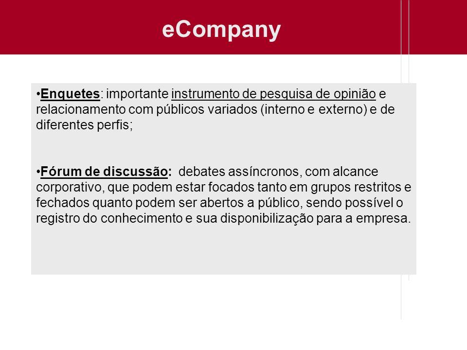 eCompany Enquetes: importante instrumento de pesquisa de opinião e relacionamento com públicos variados (interno e externo) e de diferentes perfis;