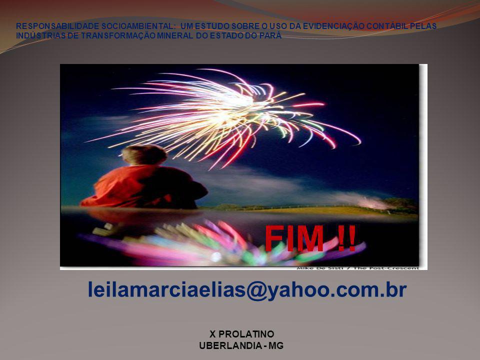 FIM !! leilamarciaelias@yahoo.com.br X PROLATINO UBERLANDIA - MG
