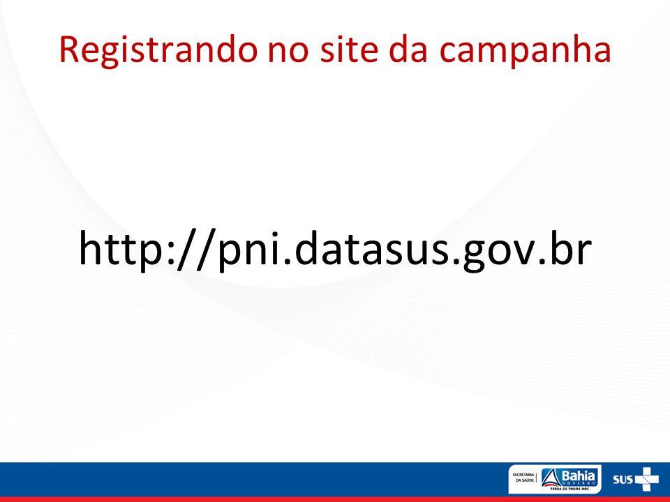Registrando no site da campanha