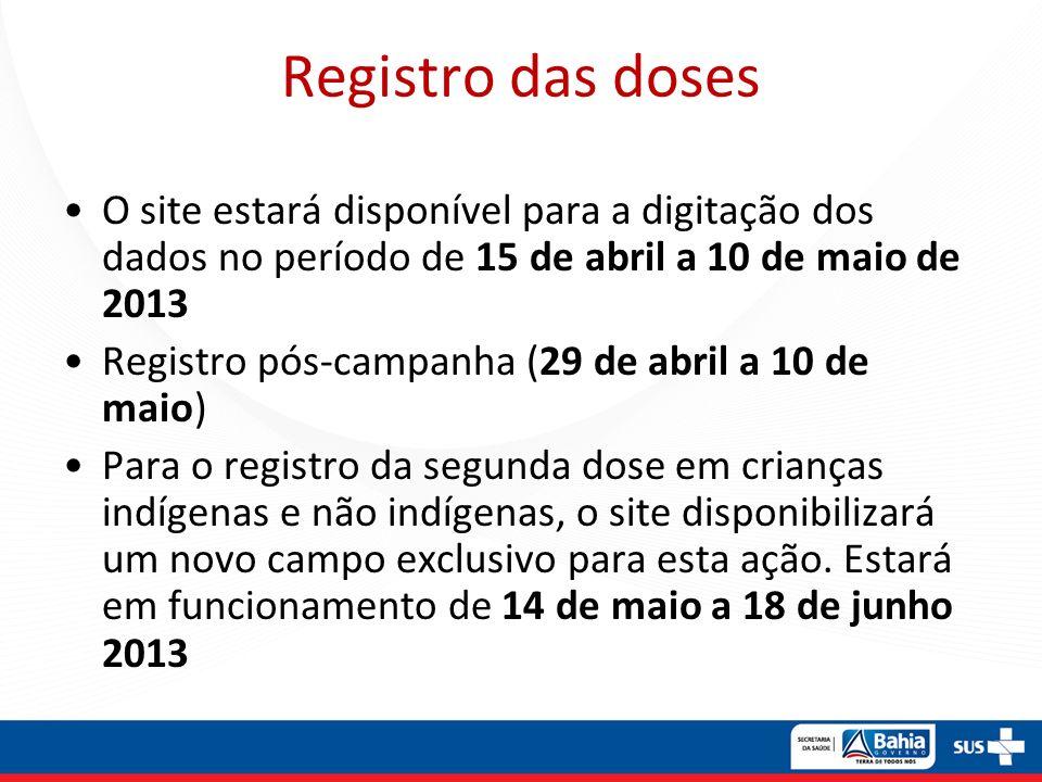 Registro das doses O site estará disponível para a digitação dos dados no período de 15 de abril a 10 de maio de 2013.