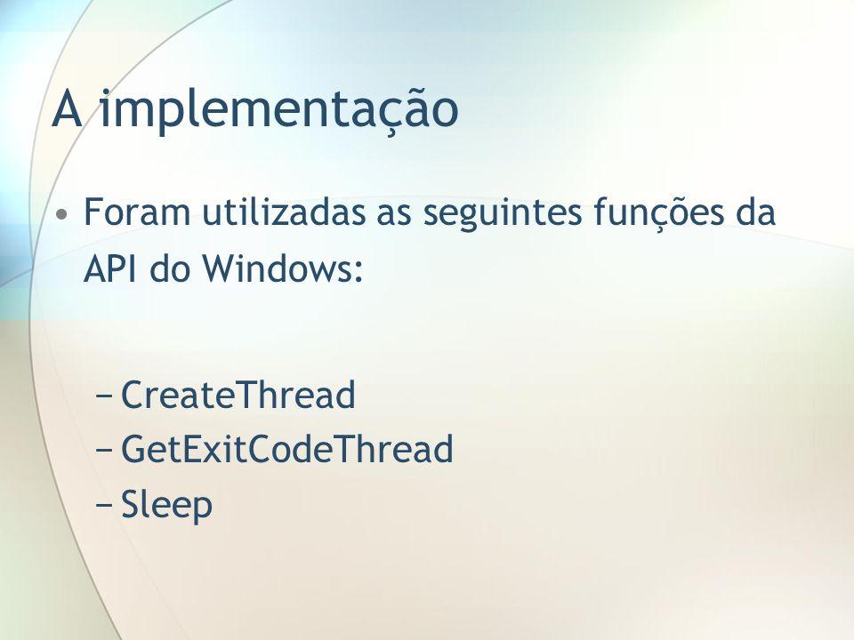 A implementação Foram utilizadas as seguintes funções da API do Windows: CreateThread. GetExitCodeThread.