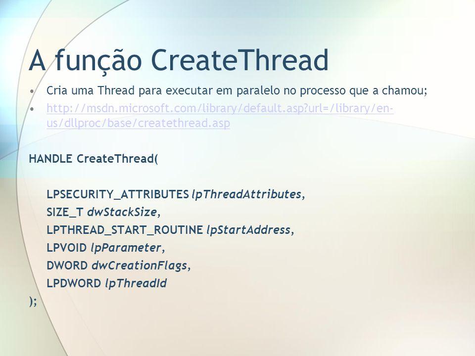 A função CreateThread Cria uma Thread para executar em paralelo no processo que a chamou;