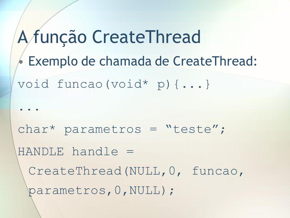 A função CreateThread Exemplo de chamada de CreateThread: