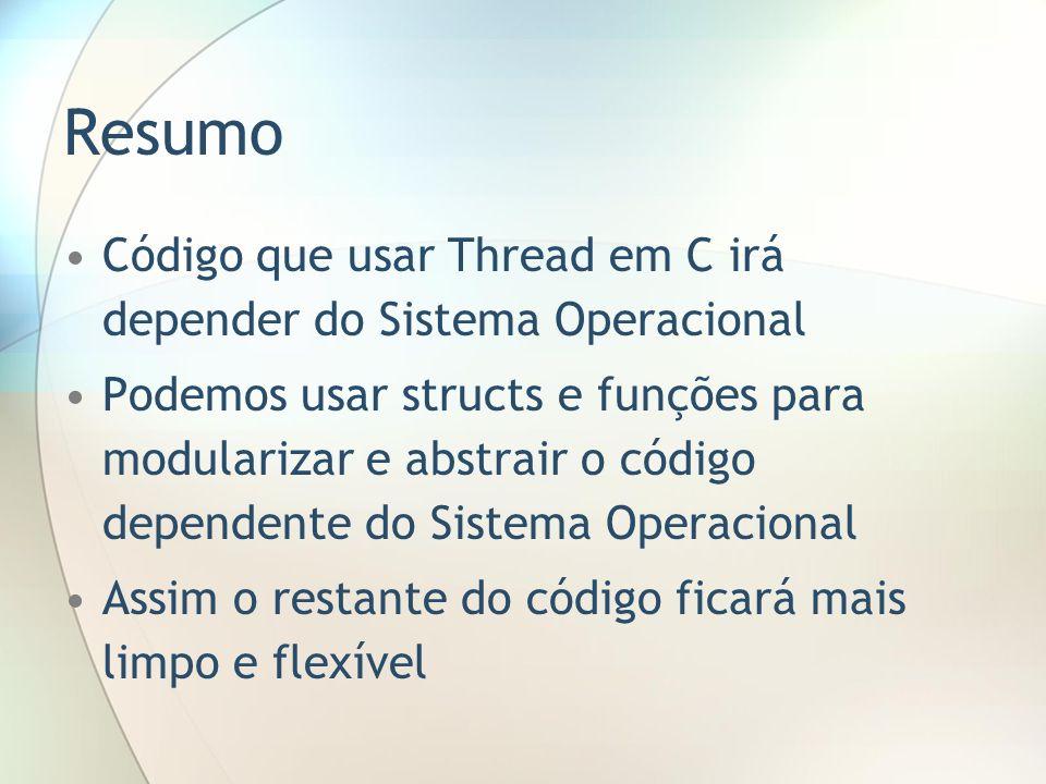 Resumo Código que usar Thread em C irá depender do Sistema Operacional