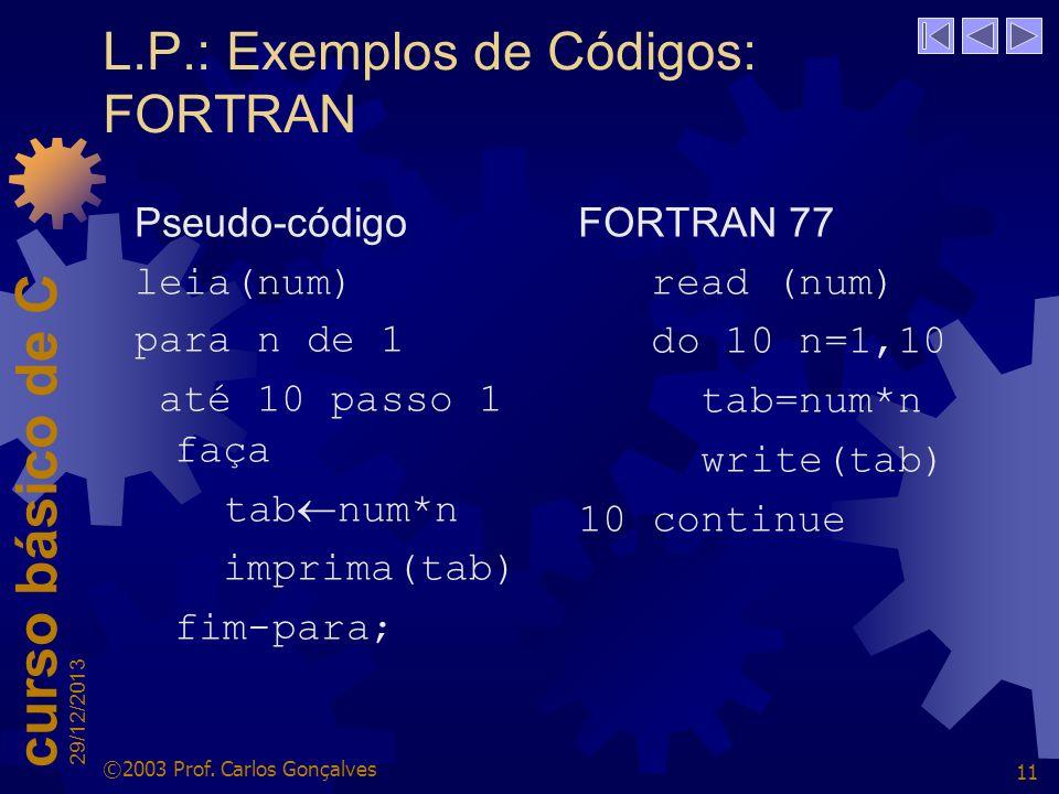L.P.: Exemplos de Códigos: FORTRAN