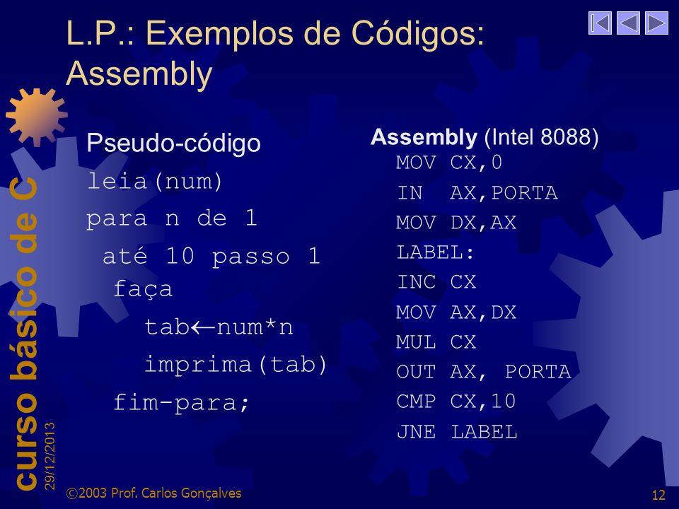 L.P.: Exemplos de Códigos: Assembly