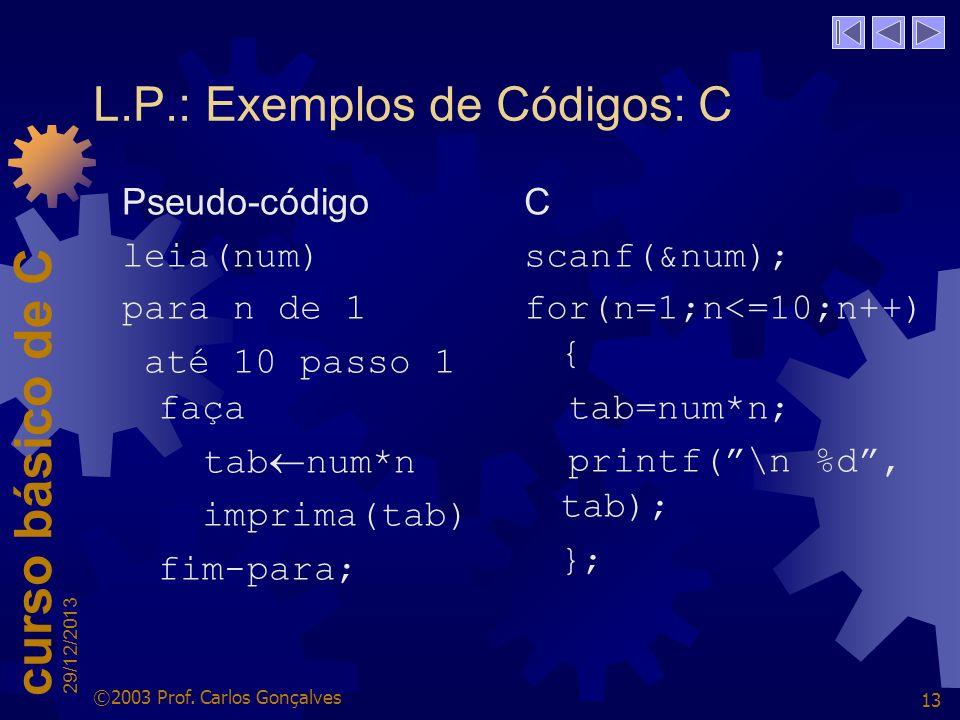 L.P.: Exemplos de Códigos: C