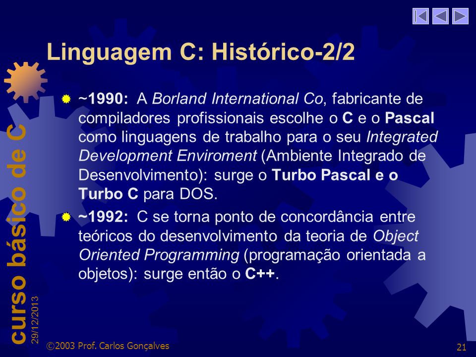 Linguagem C: Histórico-2/2
