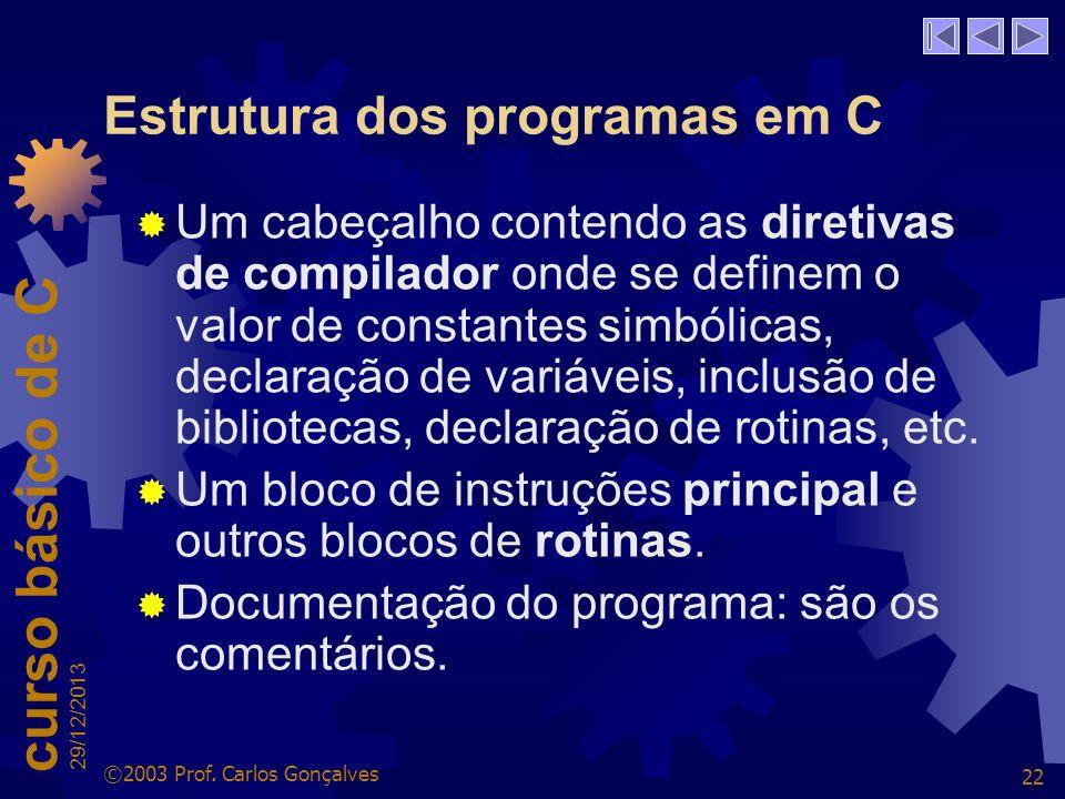 Estrutura dos programas em C
