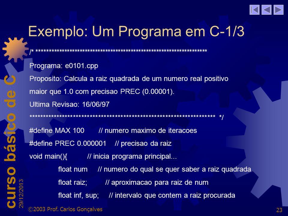 Exemplo: Um Programa em C-1/3