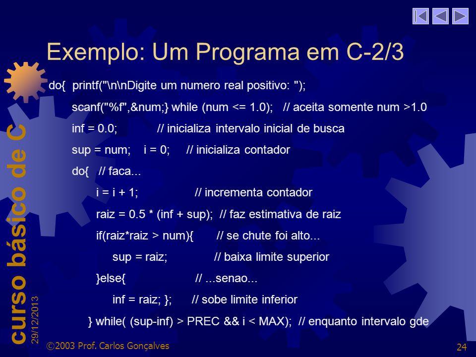Exemplo: Um Programa em C-2/3