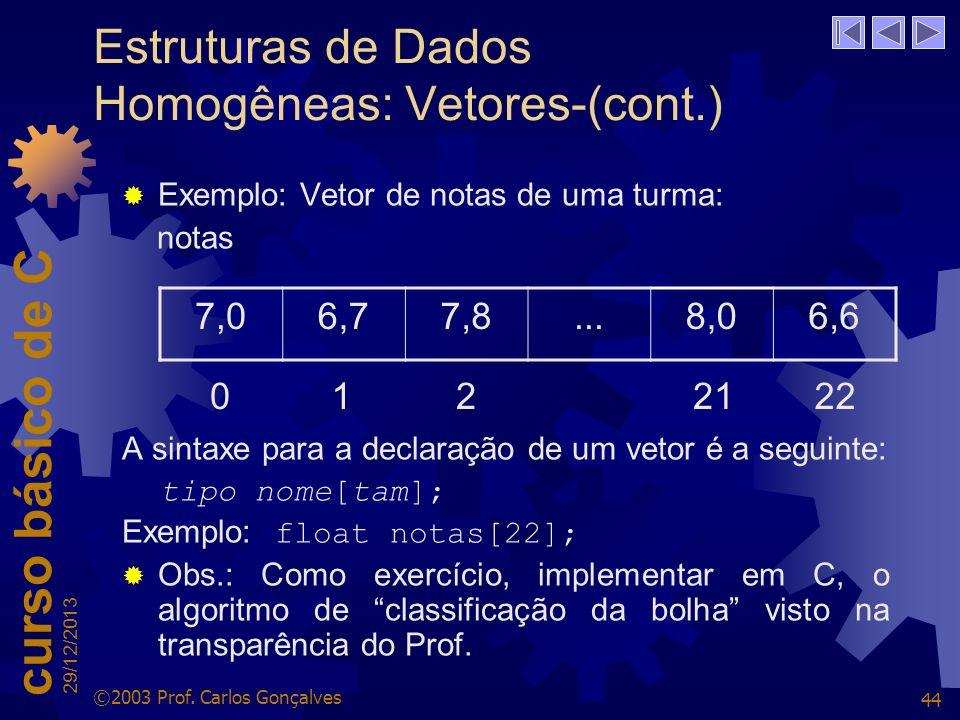 Estruturas de Dados Homogêneas: Vetores-(cont.)