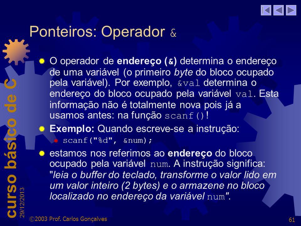 Ponteiros: Operador &