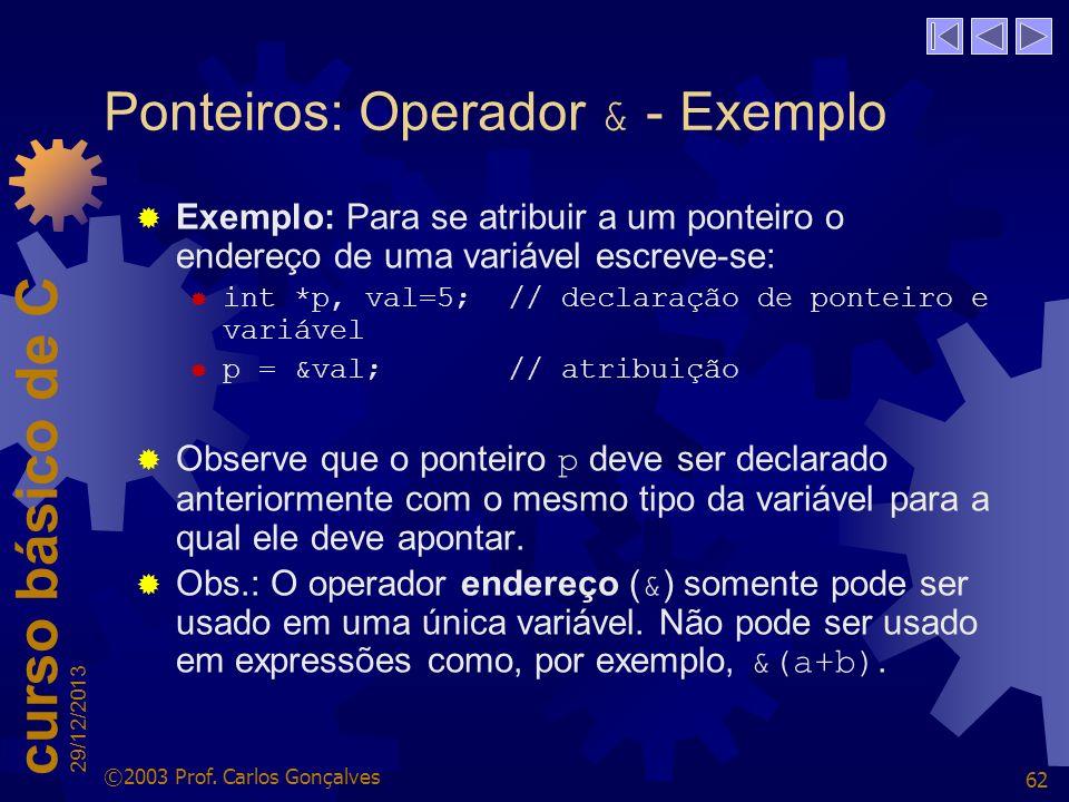 Ponteiros: Operador & - Exemplo
