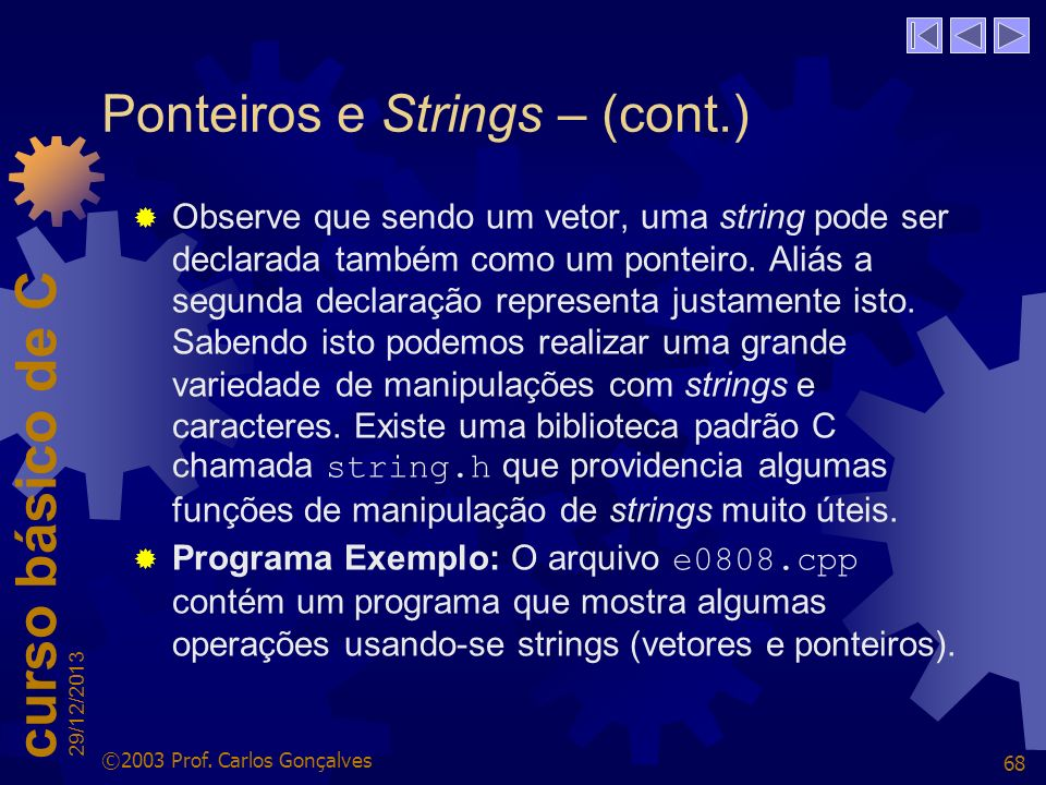 Ponteiros e Strings – (cont.)