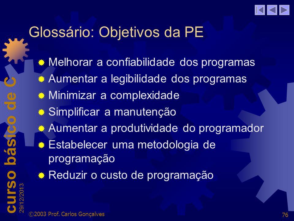 Glossário: Objetivos da PE