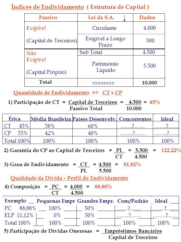 Índices de Endividamento ( Estrutura de Capital )
