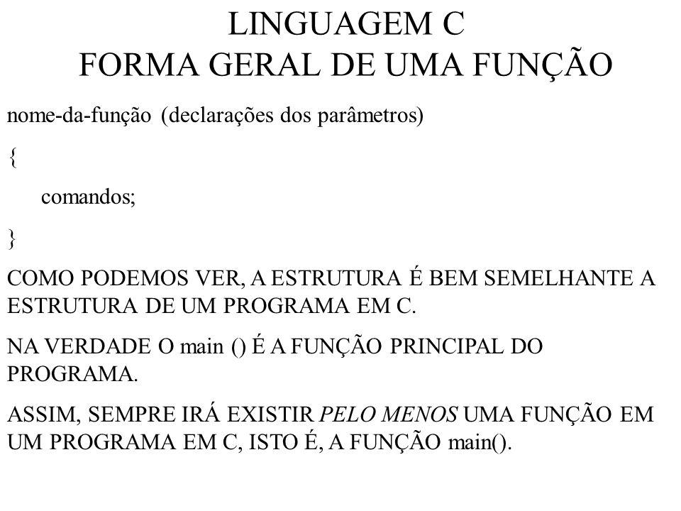 LINGUAGEM C FORMA GERAL DE UMA FUNÇÃO