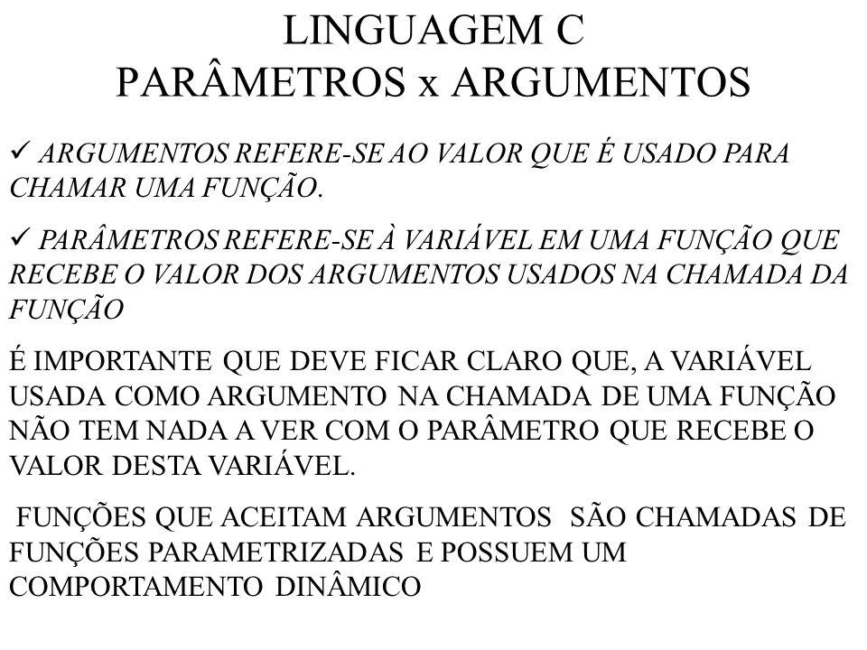 LINGUAGEM C PARÂMETROS x ARGUMENTOS