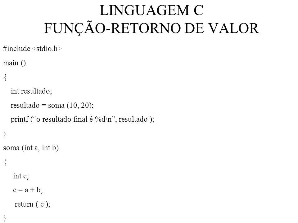 LINGUAGEM C FUNÇÃO-RETORNO DE VALOR