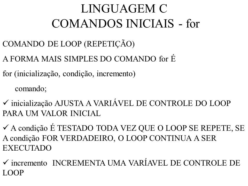 LINGUAGEM C COMANDOS INICIAIS - for