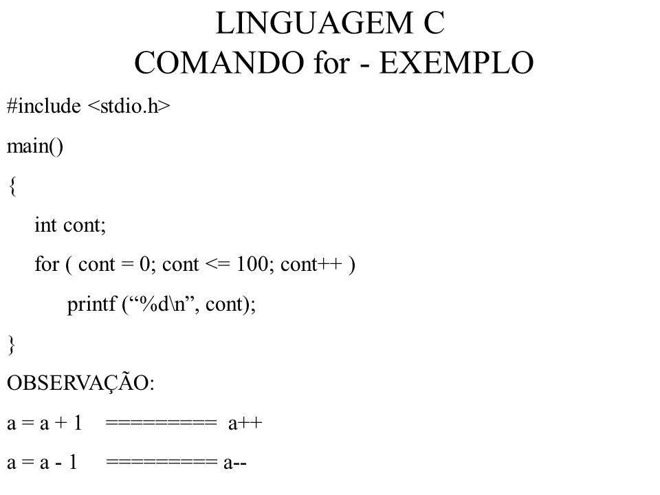 LINGUAGEM C COMANDO for - EXEMPLO