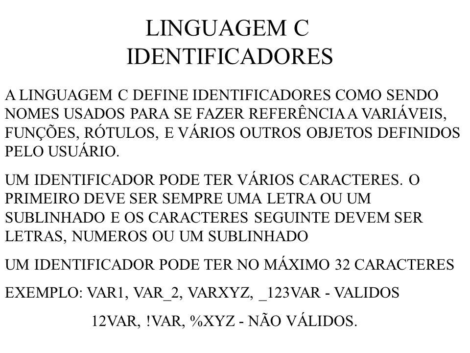 LINGUAGEM C IDENTIFICADORES