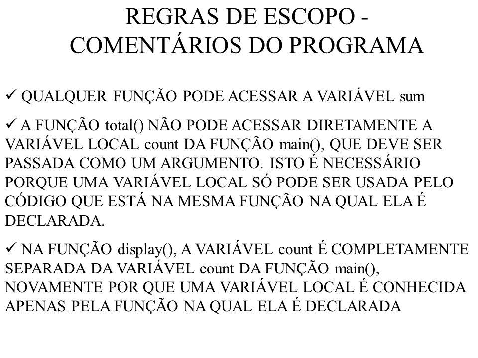 REGRAS DE ESCOPO - COMENTÁRIOS DO PROGRAMA